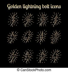 Golden thin line lightning bolts set