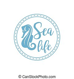 Sea horse lettering design - Sea life lettering design with...
