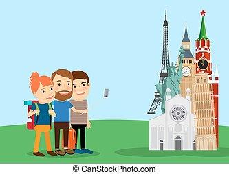 Traveling family make selfie near landmarks