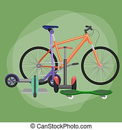 isolated electric scooter, one and two-wheeled mobility electric vehicle vector illustration, Eco alternative city transport