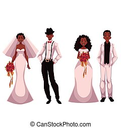African American just married couple, set of brides and grooms