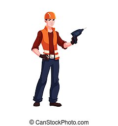 Young and handsome industrial worker with a drill