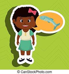 girl cartoon food fish fresh