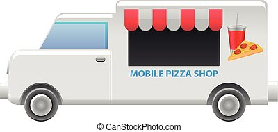 Pizza food truck vector icon - Vector illustration of a...