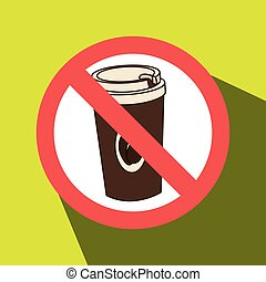 coffee fast food unhealth prohibited vector illustration eps...