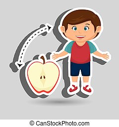 boy cartoon fruit sliced apple