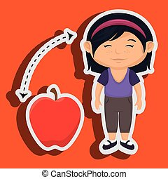 girl cartoon fruit apple red vector illustratin eps 10