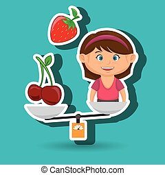 cartoon girl food fruit balance vector illustratin