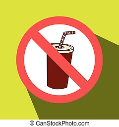 soda fast food unhealth prohibited vector illustration eps...