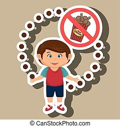 cartoon child fast food danger symbol