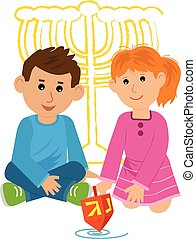 Kids With Dreidel - Boy and a girl are playing with dreidel....