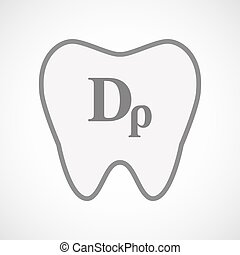 Isolated line art tooth icon with a drachma currency sign -...