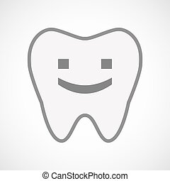 Isolated line art tooth icon with a smile text face