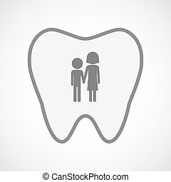 Isolated line art tooth icon with a childhood pictogram -...