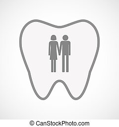 Isolated line art tooth icon with a heterosexual couple...