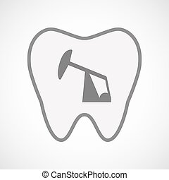 Isolated line art tooth icon with a horsehead pump -...