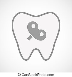Isolated line art tooth icon with a toy crank - Illustration...