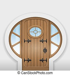 Fairy arched door - Fairy arched wooden door with round...