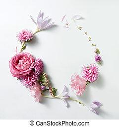 hermoso, vendimia, estilo, marco, rosas