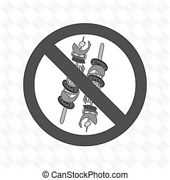 skewer fast food unhealth prohibited vector illustration eps...