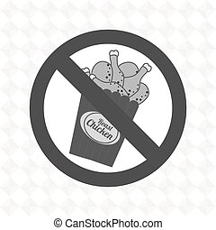 chicken fast food unhealth prohibited vector illustration...