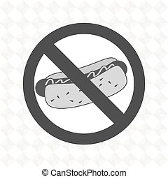 hot dog fast food unhealth prohibited vector illustration...