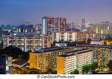 Home and residential building in Singapore, night scene