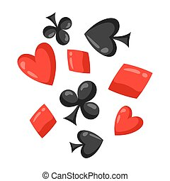 Set of casino red and black card suits falling down.