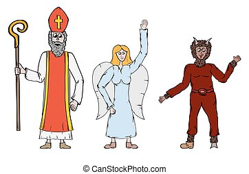 Angel, Devil and Saint Nicholaus. Threee persons as a symbol...