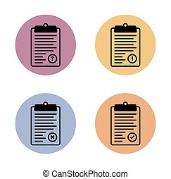 clipboard simple flat icon in color circle - Clipboard...