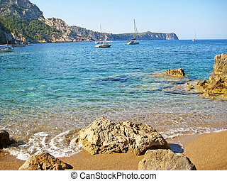 Beach Coll Baix, famous bay in the north of Majorca - At the...