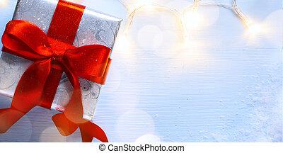 Christmas gift box and Christmas light