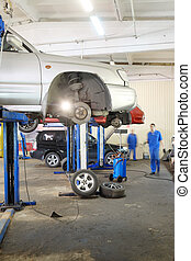car repair garage - Interior of a car repair garage