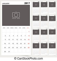 planner calendar january 2017 design illustration - planner...