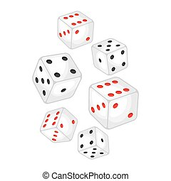 Set of casino white dice falling down.