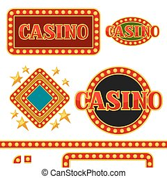 Set of casino signboards and borders with lightbulbs.