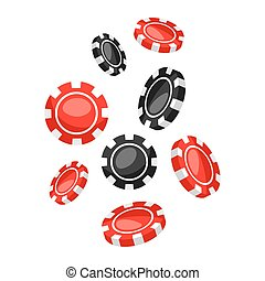 Set of casino red and black chips falling down.