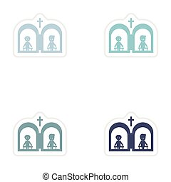 Set of paper stickers on white background Christian...