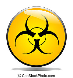 Biohazard symbol on a yellow button