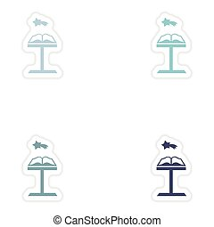 Set of paper stickers on white background Open Bible