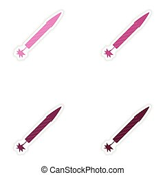 Set of paper stickers on white background rocket fireworks
