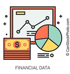 Financial data line icons.