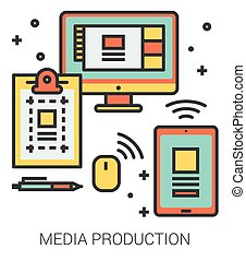 Media production line icons. - Media production infographic...