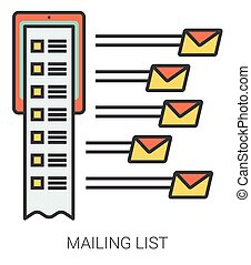 Mailing list line icons. - Mailing list infographic metaphor...