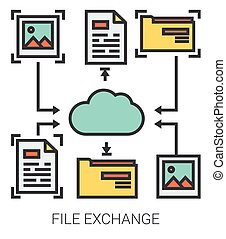 File exchange line icons. - File exchange infographic...