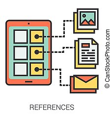 References line icons. - References infographic metaphor...