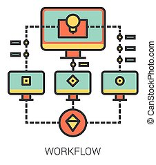 Workflow line icons. - Workflow infographic metaphor with...