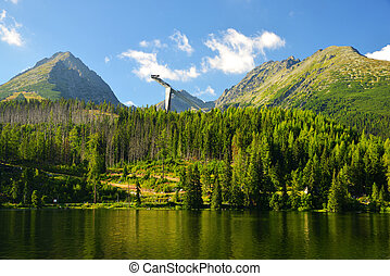 Mountain lake Strbske pleso in National Park High Tatras,...