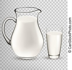 Natural Whole Milk In Jug And Glass isolated On Transparent Background. Vector