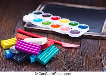 plasticine - color plasticine on a table, plasticine on...